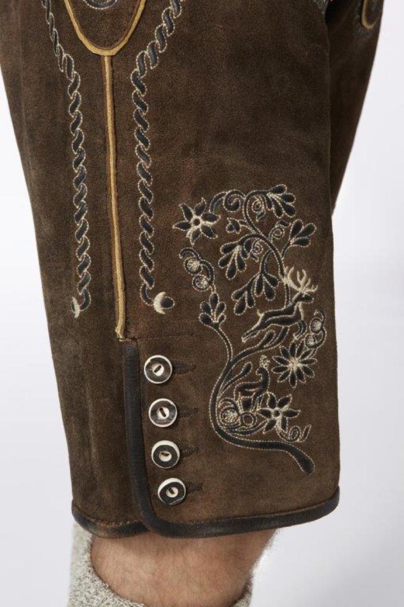 Traditionelle Lederhose für Herren mit plastischer Stickerei von Almsach.