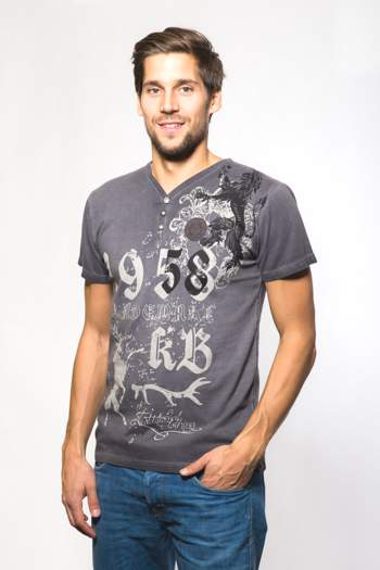 Trachten T-Shirt Krüger grau